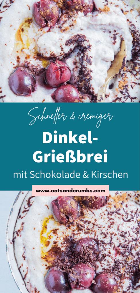 Dinkel-Grießbrei mit Schokolade und Kirschen in einer grauen Schüssel mit einem goldenen Löffel. Aufnahme von oben.