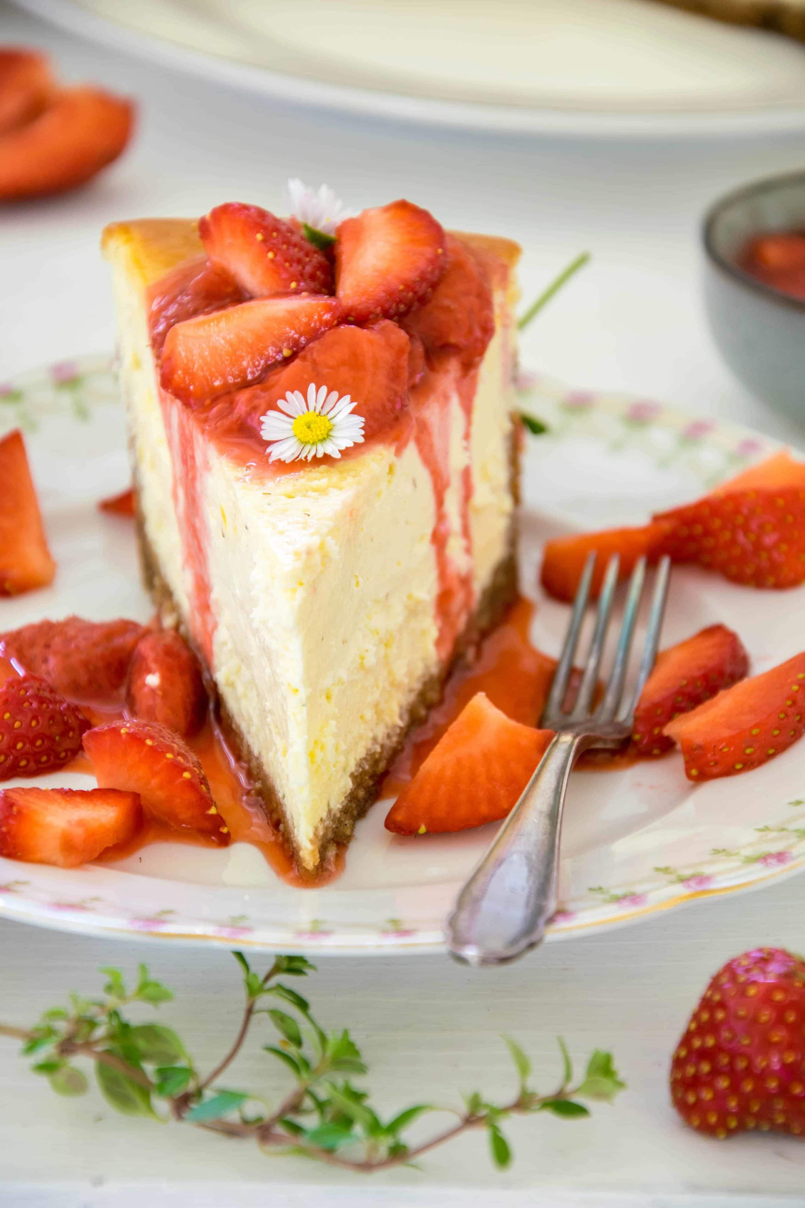 Cheesecake mit Erdbeerkompott