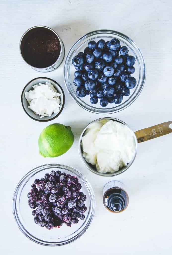 Zutaten für Frozen Blueberry Skyr in diversen kleinen Gefäßen auf weißem Untergrund. Top View.