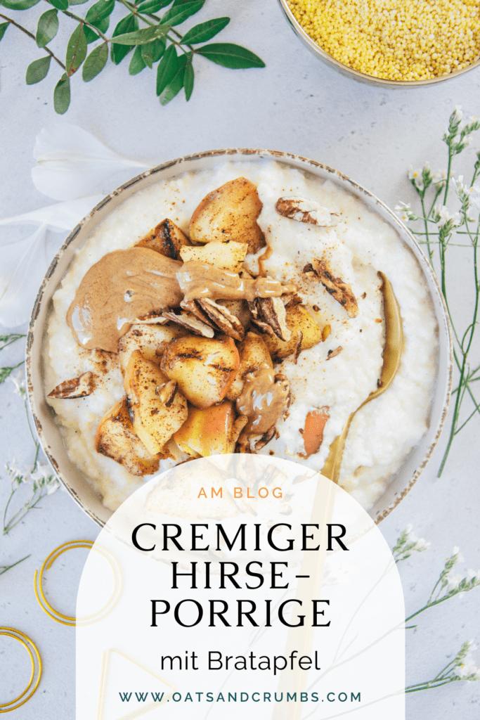 Pinterest-Grafik für Hirse-Porridge mit Bratapfel