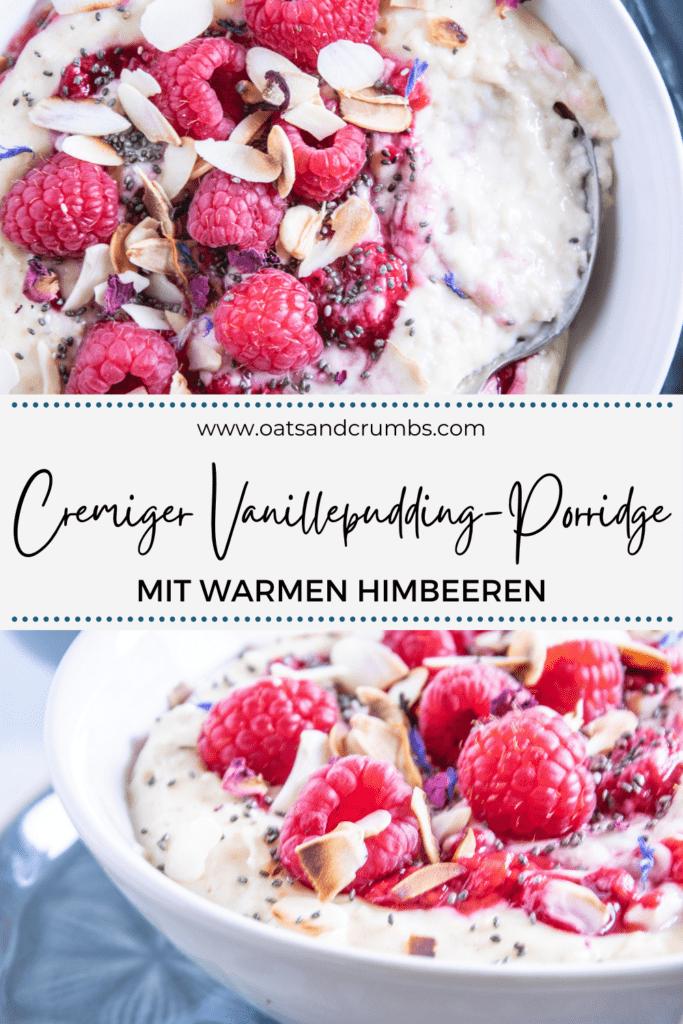 Pinterest-Grafik für Vanillepudding-Porridge mit warmen Himbeeren