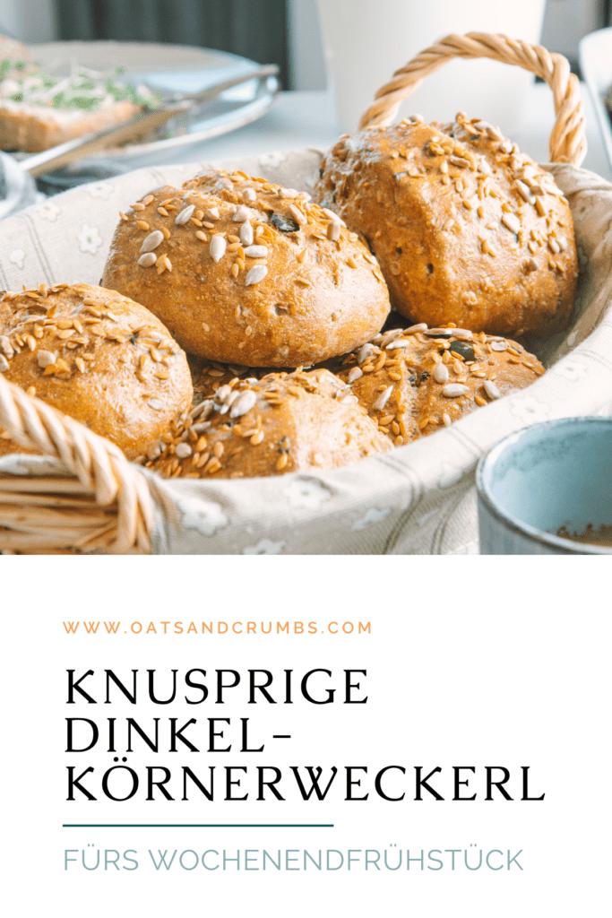 Pinterest-Grafik für knusprige Dinkel-Körnerweckerl mit Übernachtgare