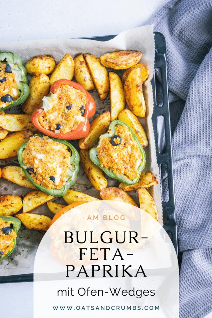 Pinterest-Grafik für Gefüllte Bulgur-Feta-Paprika mit Ofen-Wedges