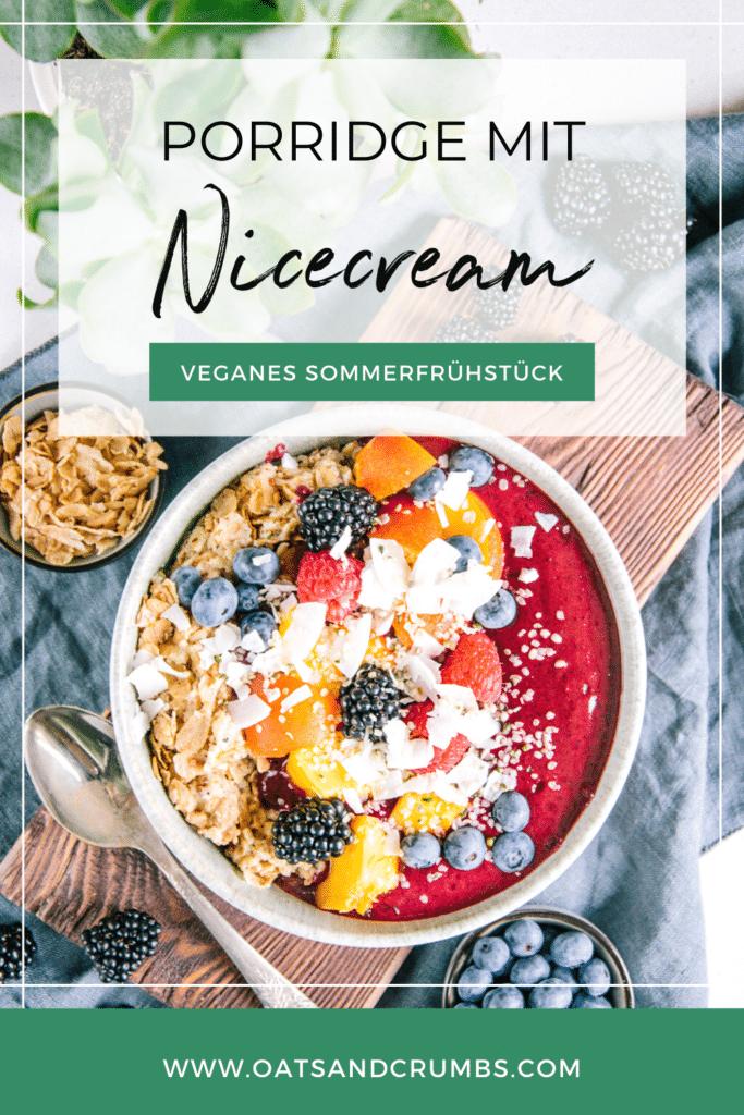 Pinterest-Grafik für Porridge mit Nicecream